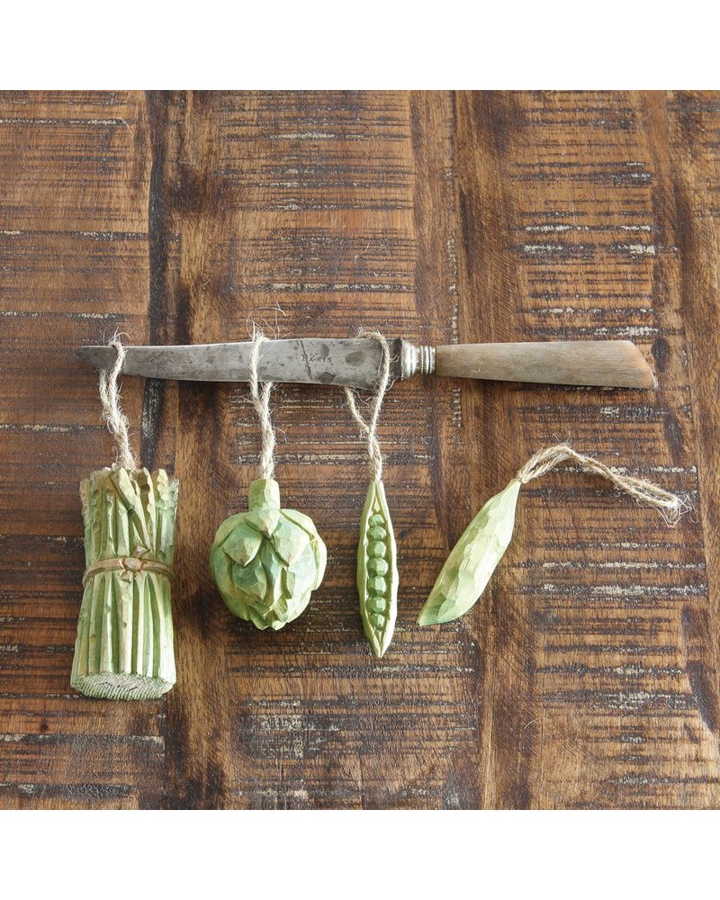 HomArt Carved Wood Vegetable Ornament - Pea Pod