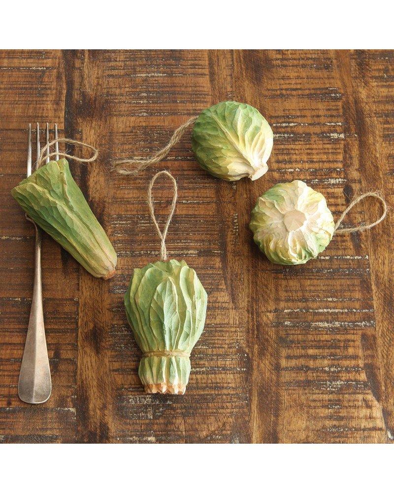 HomArt Carved Wood Vegetable Ornament - Iceberg Lettuce