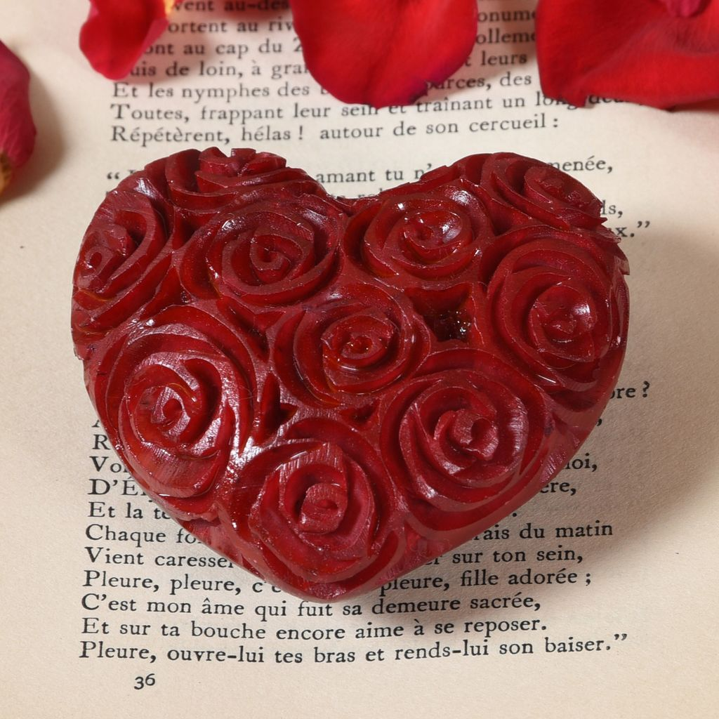 HomArt Sm Red Soapstone Carved Rose Heart