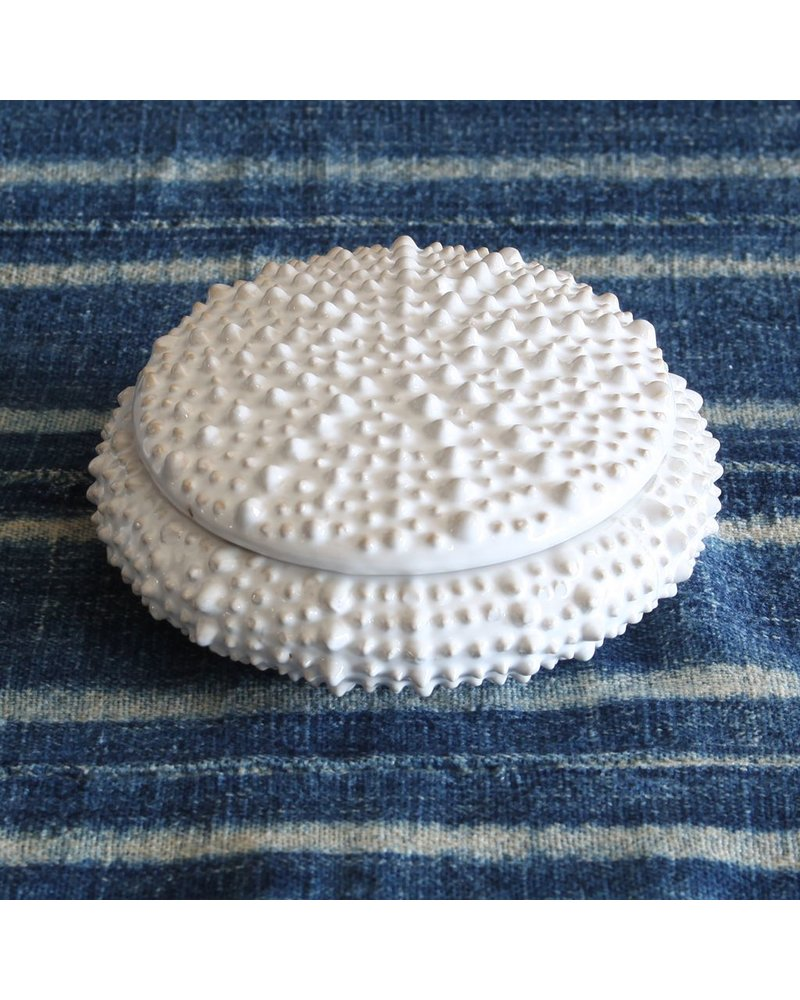 HomArt White Sea Urchin Round Ceramic Box - Sm
