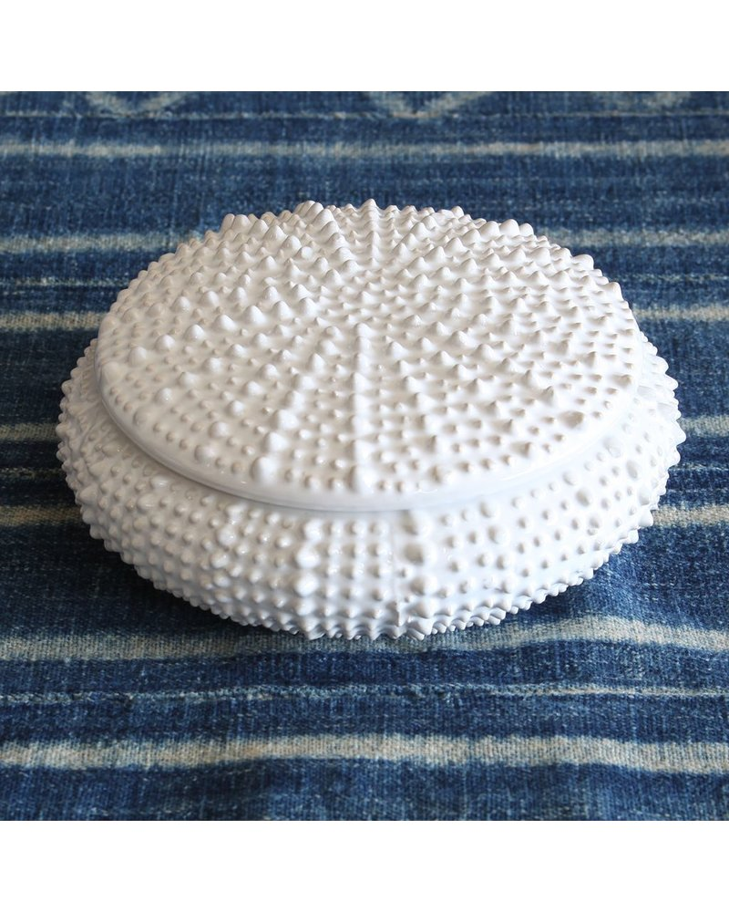 HomArt White Sea Urchin Round Ceramic Box - Lrg