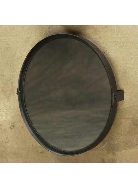 HomArt Pivot Iron Mirror, Rnd - Lrg - Black Waxed