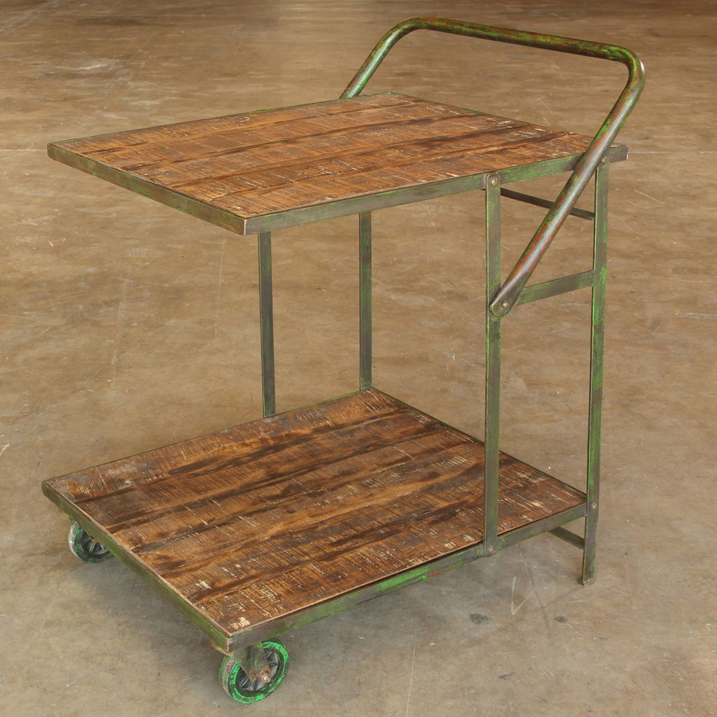 ... HomArt Ojai Iron Garden Trolley - Antique Green with Distressed Wood - HomArt Ojai Iron Garden Trolley - Antique Green With Distressed Wood