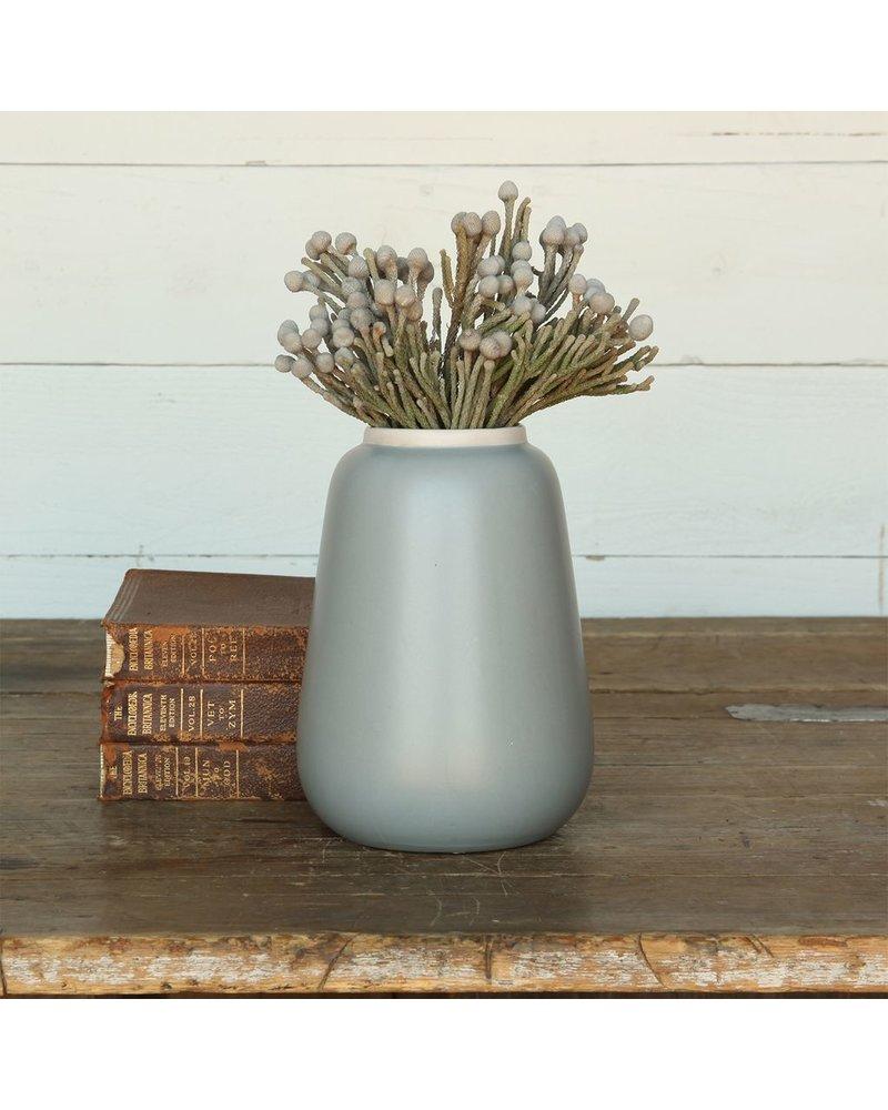 HomArt Helm Ceramic Vase - Lrg - Matte Blue with White Rim