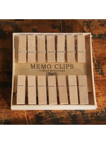 HomArt Memo Clips - Box of 14 - Natural Wood