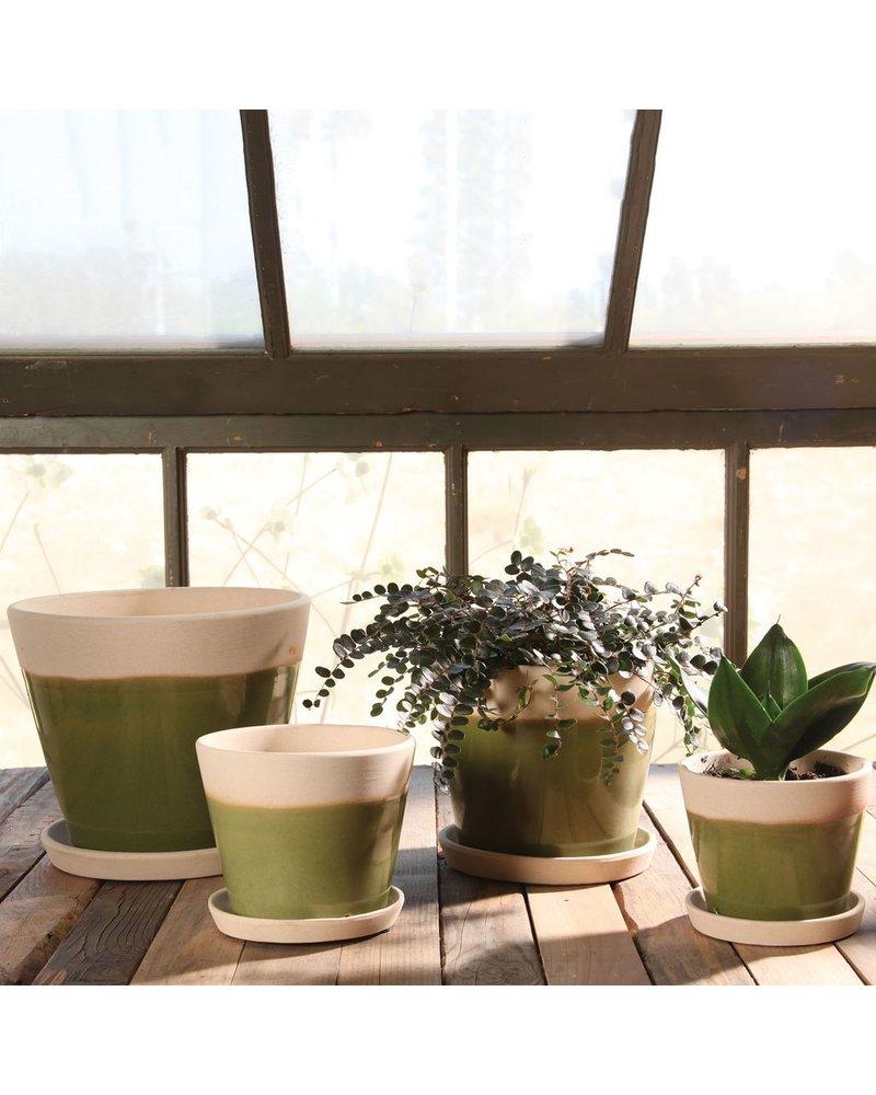 HomArt Begonia Ceramic Cachepot - Grand - Green