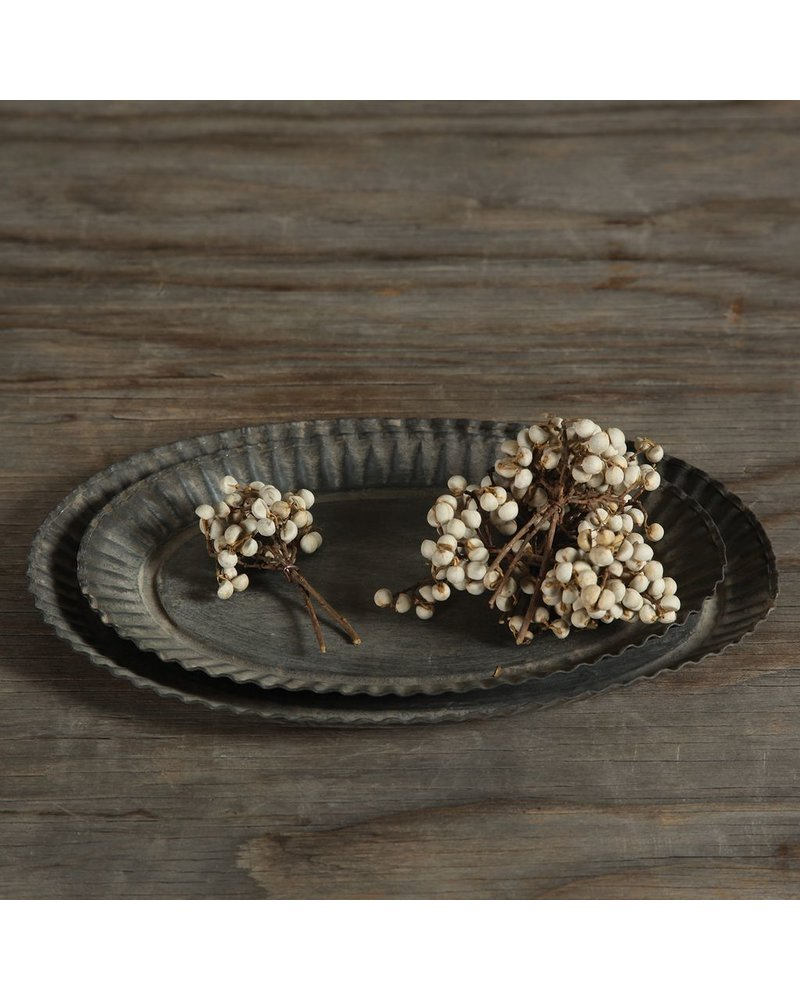 HomArt Ross Flared Oval Metal Tray - Sm - Galvanized