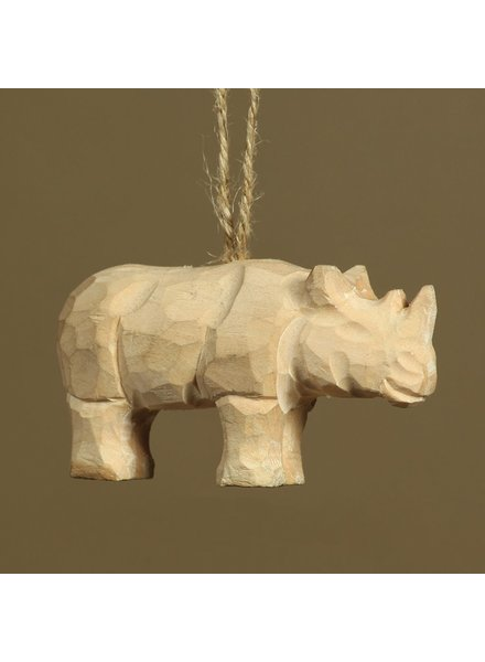 HomArt Carved Wood Ornament - Rhino Set of 3