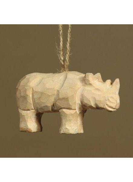 HomArt Carved Wood Ornament - Rhino