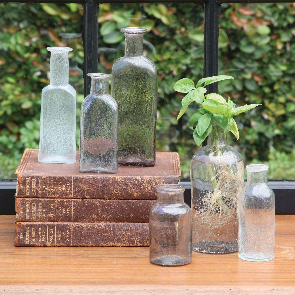 HomArt Vintage Glass Bottle Rect - Med - Antique Clear