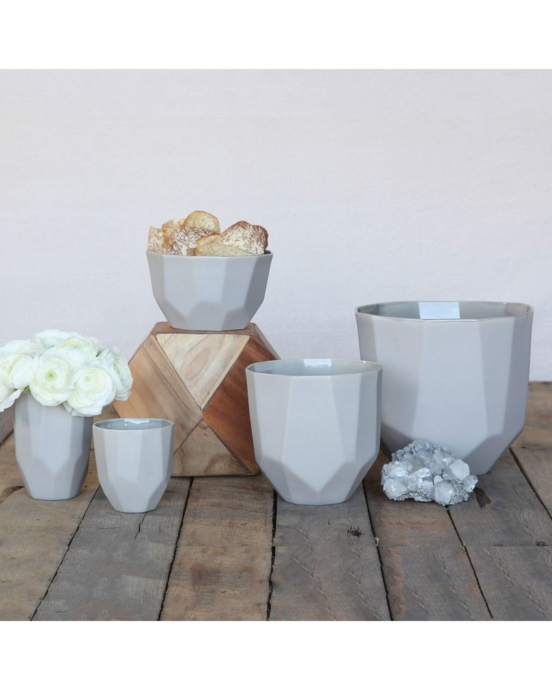 HomArt Quartz Faceted Ceramic Cup - Lrg - Grey