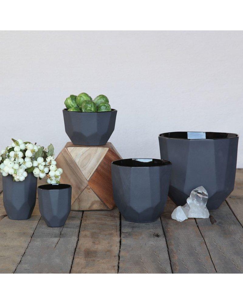 HomArt Quartz Faceted Ceramic Bowl - Med - Black