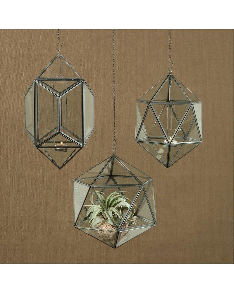 HomArt Pierre Hanging Leaded Glass Luminaria - Icosahedron - Narrow - Zinc Antique