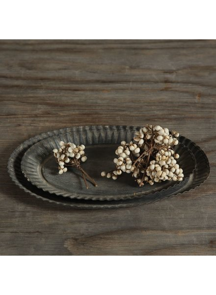 HomArt Ross Flared Oval Metal Tray - Petite - Galvanized