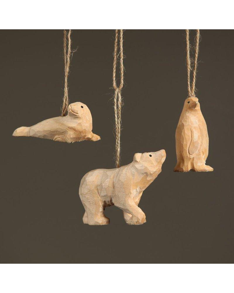 HomArt Carved Wood Ornament - Penguin
