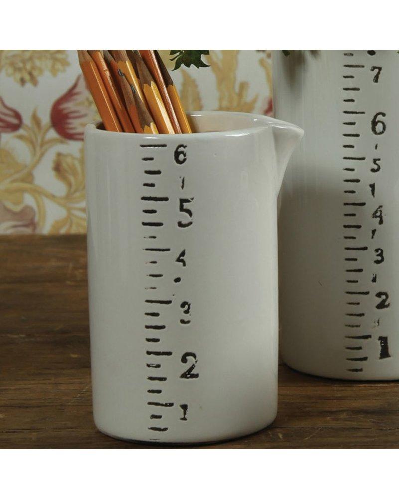 HomArt Ruled Ceramic Container - Med - White-Black