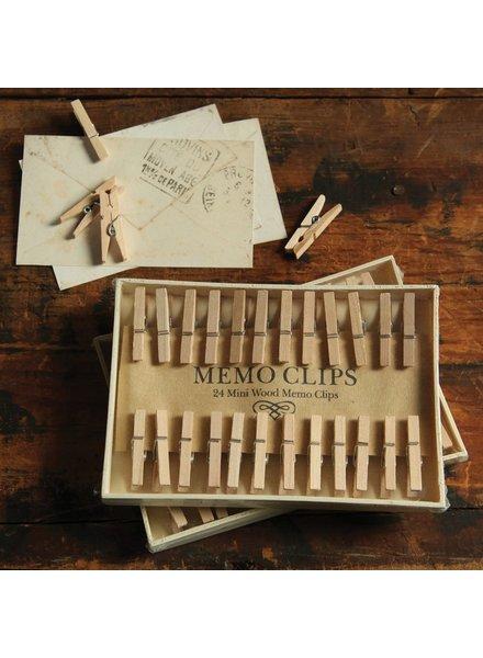 HomArt Memo Clips - Box of 24 - Natural Wood
