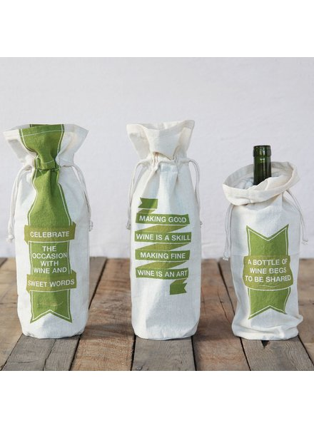 HomArt Cotton Wine Bag, Set of 3 - Assorted - Quotes