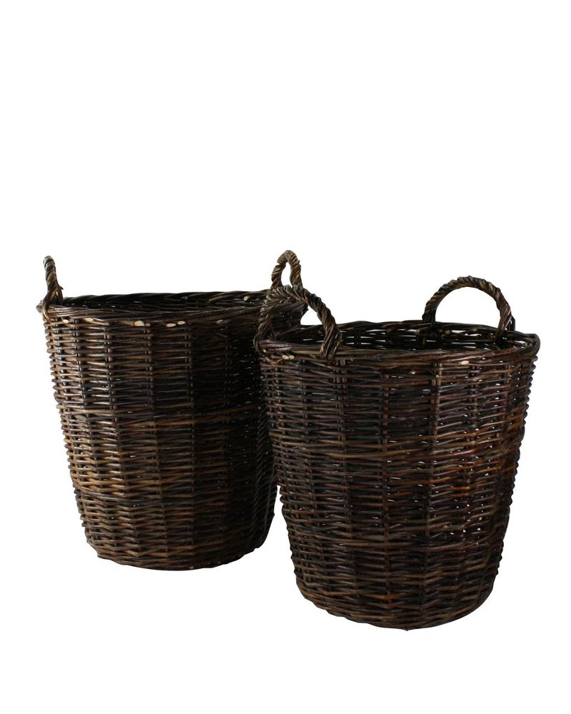 HomArt Willow Round Baskets - Set of 2 - Natural