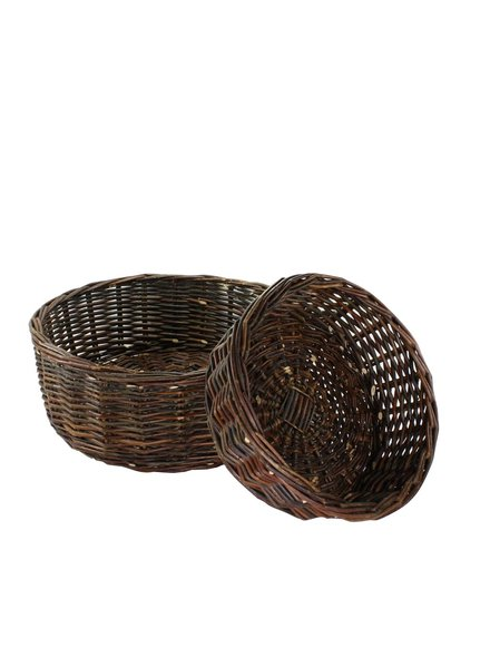HomArt Willow Low Round Baskets - Set of 2 - Natural