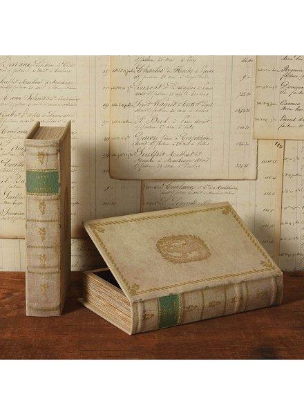 HomArt Vintage Canvas Book Box - Green Band