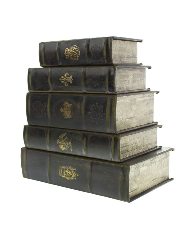 HomArt Royal Embossed Book Box Starter Set - 2 of Each Size - Brown