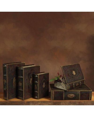 HomArt Royal Embossed Book Box - Crest - 10.5 in - Brown