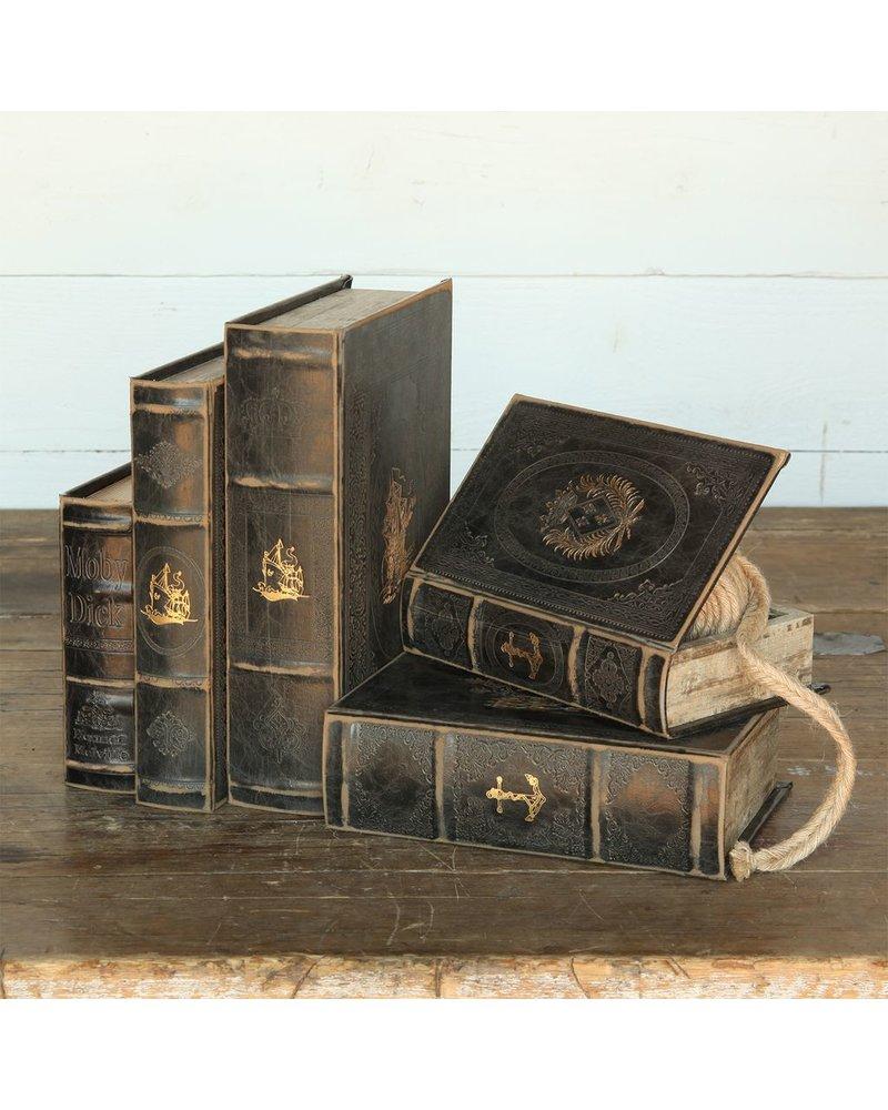 HomArt Maritime Embossed Book Box Set - 2 of Each Size - Black