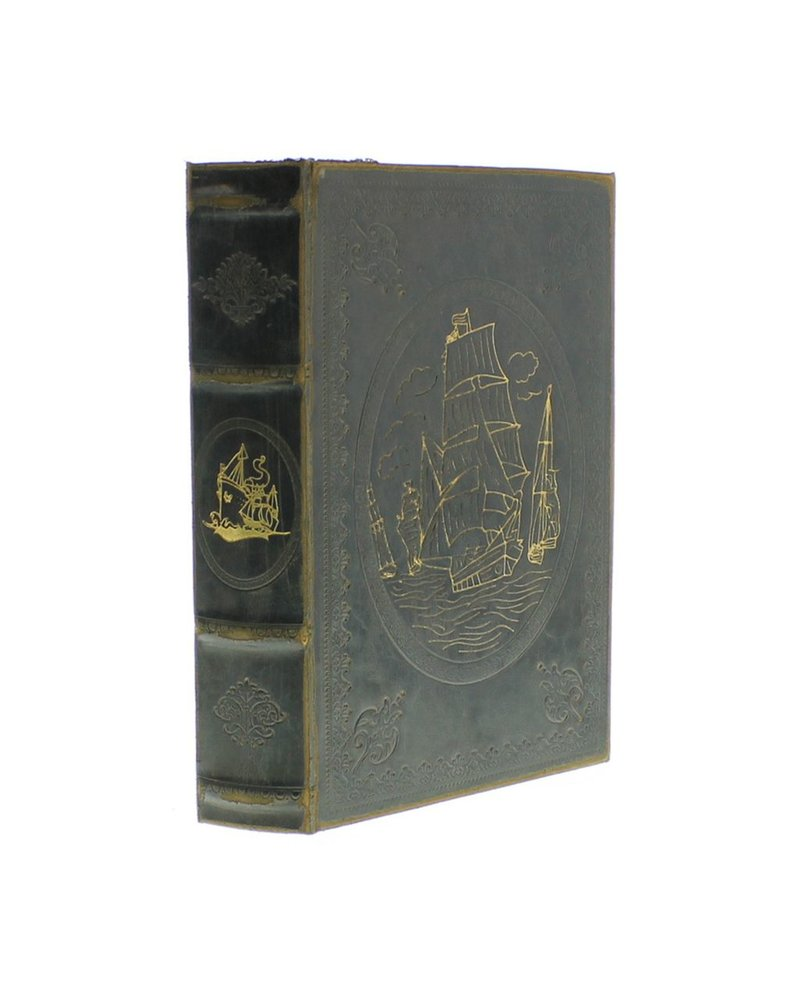 HomArt Maritime Embossed Book Box - Ship - 9.5 in - Black