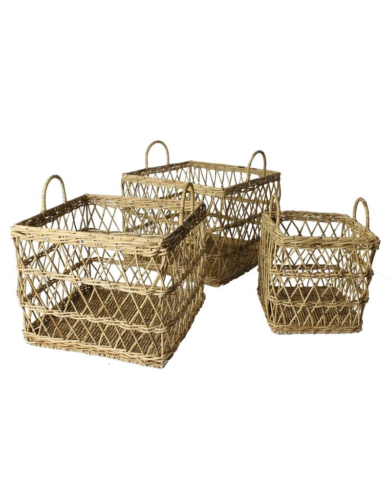 HomArt Kuta Rattan Baskets - Set of 3 - Rattan