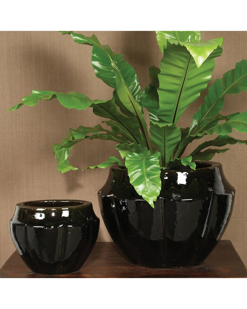 HomArt Neiman Earthenware Pots - Set of 2 - Black
