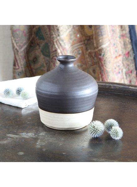 HomArt Tucker Ceramic Bottle Vase - Matte Brown & Natural