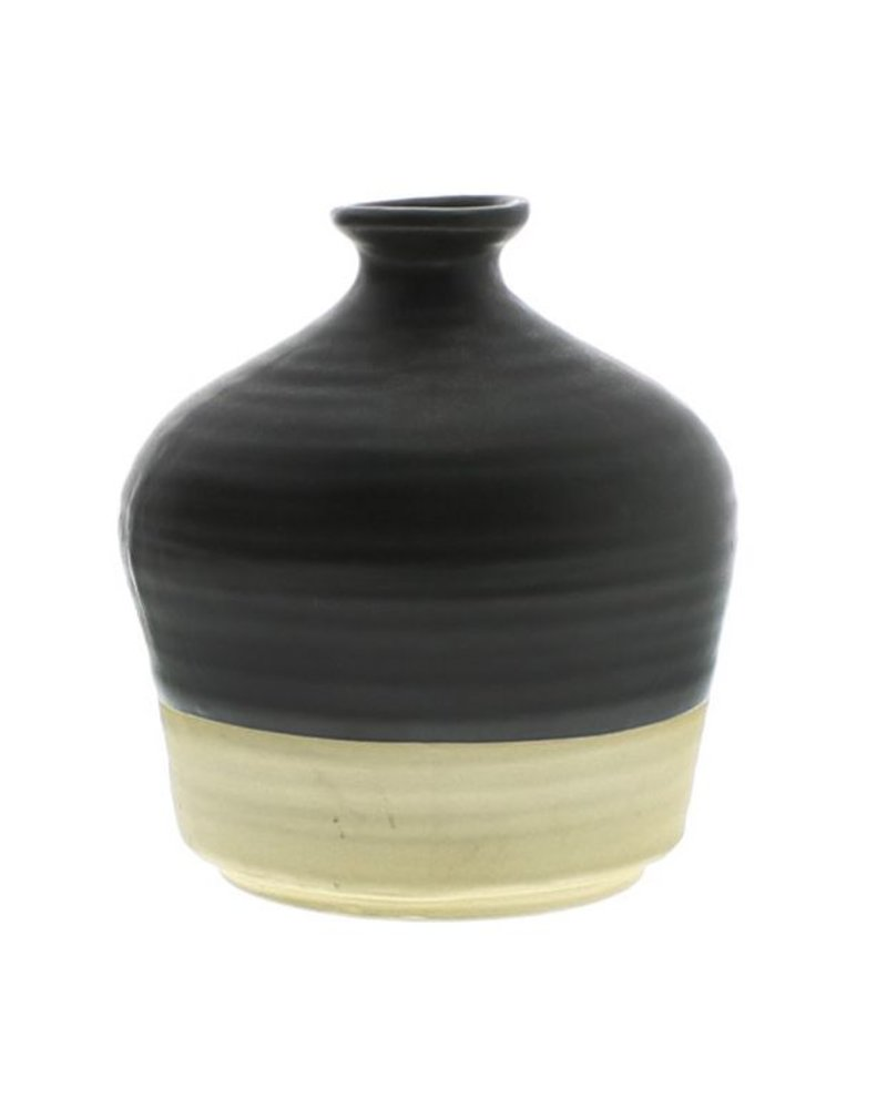 HomArt Tucker Ceramic Bottle Vase - Matte Brown & Natural