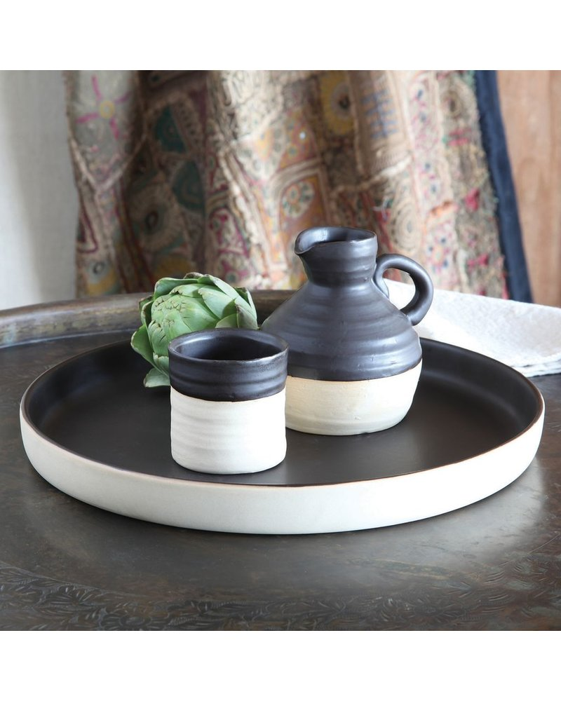 HomArt Tucker Ceramic Tray - Matte Brown & Natural