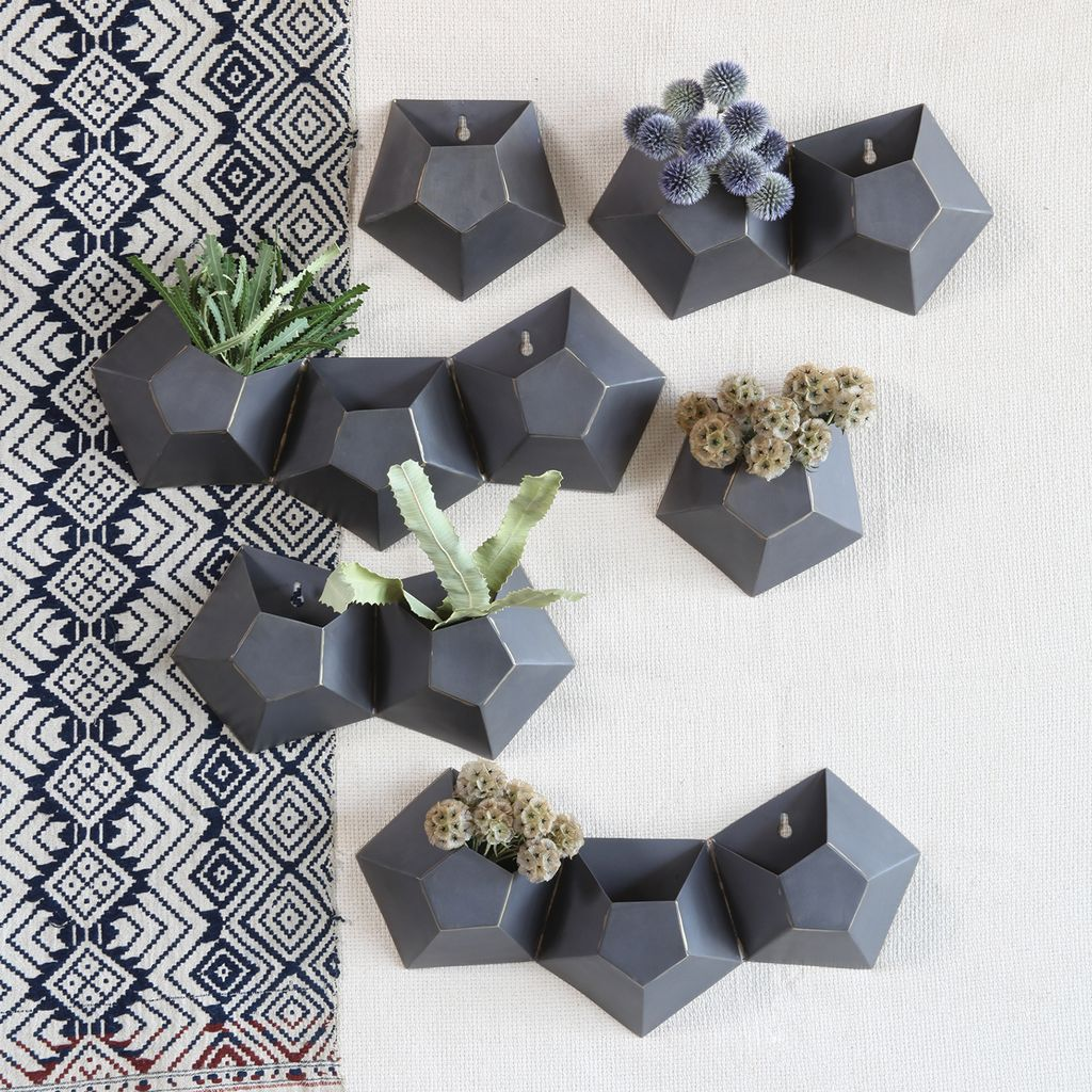 HomArt Hexagonal Iron Wall Vase - Double