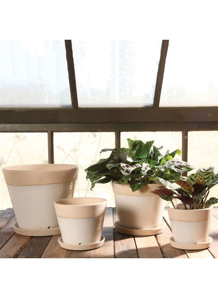 HomArt Begonia Ceramic Cachepot - Grand - White