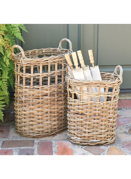 HomArt Newhaven Rattan Umbrella Baskets - Set of 2 - Rustique Grey