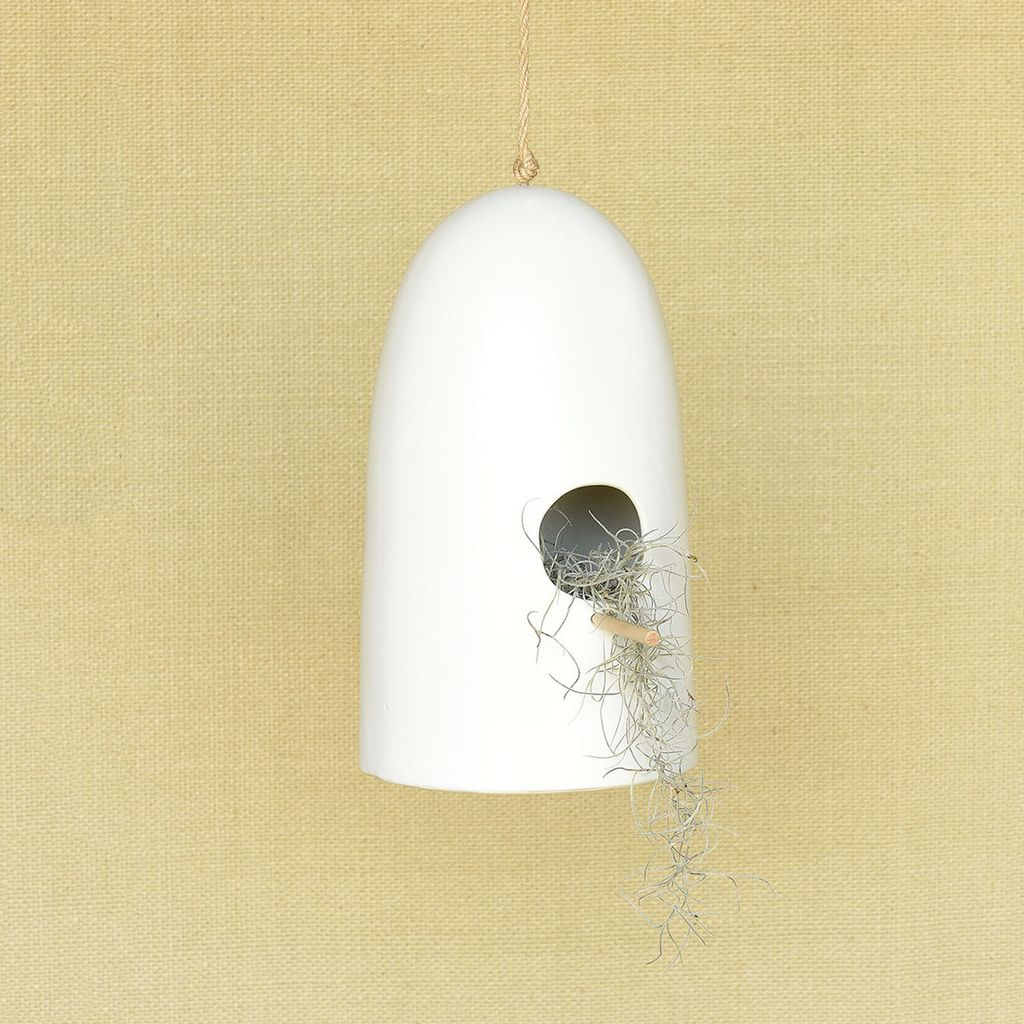 HomArt Ceramic Bird House - Lrg - Matte White
