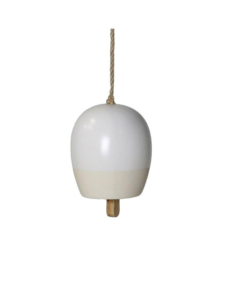 HomArt Ceramic Garden Bell - Sm - Matte White & Natural