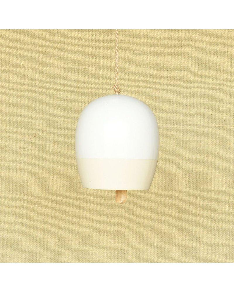 HomArt Ceramic Garden Bell - Med - Matte White & Natural