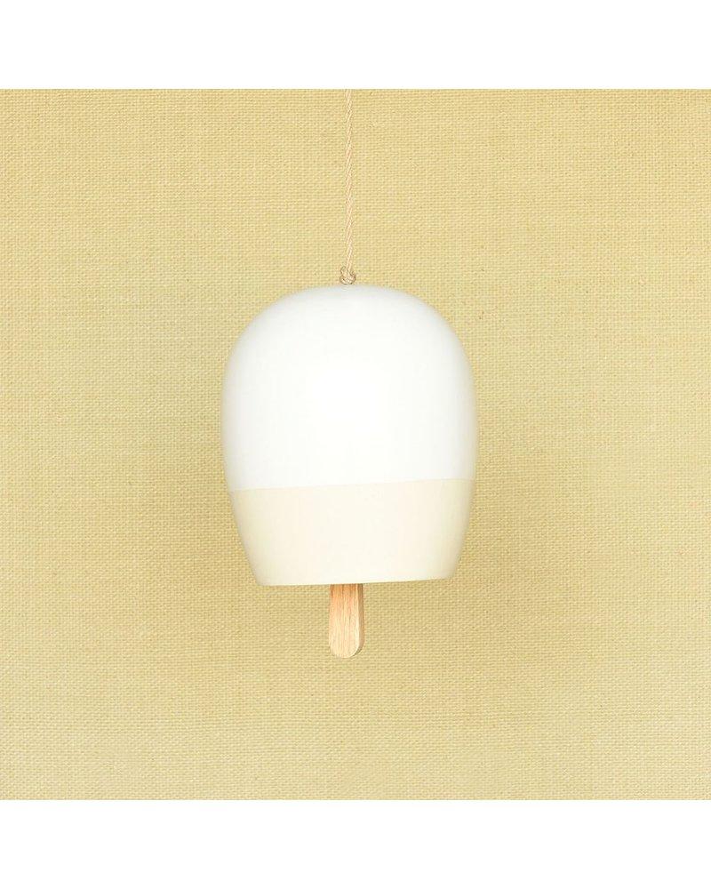 HomArt Ceramic Garden Bell - Lrg - Matte White & Natural