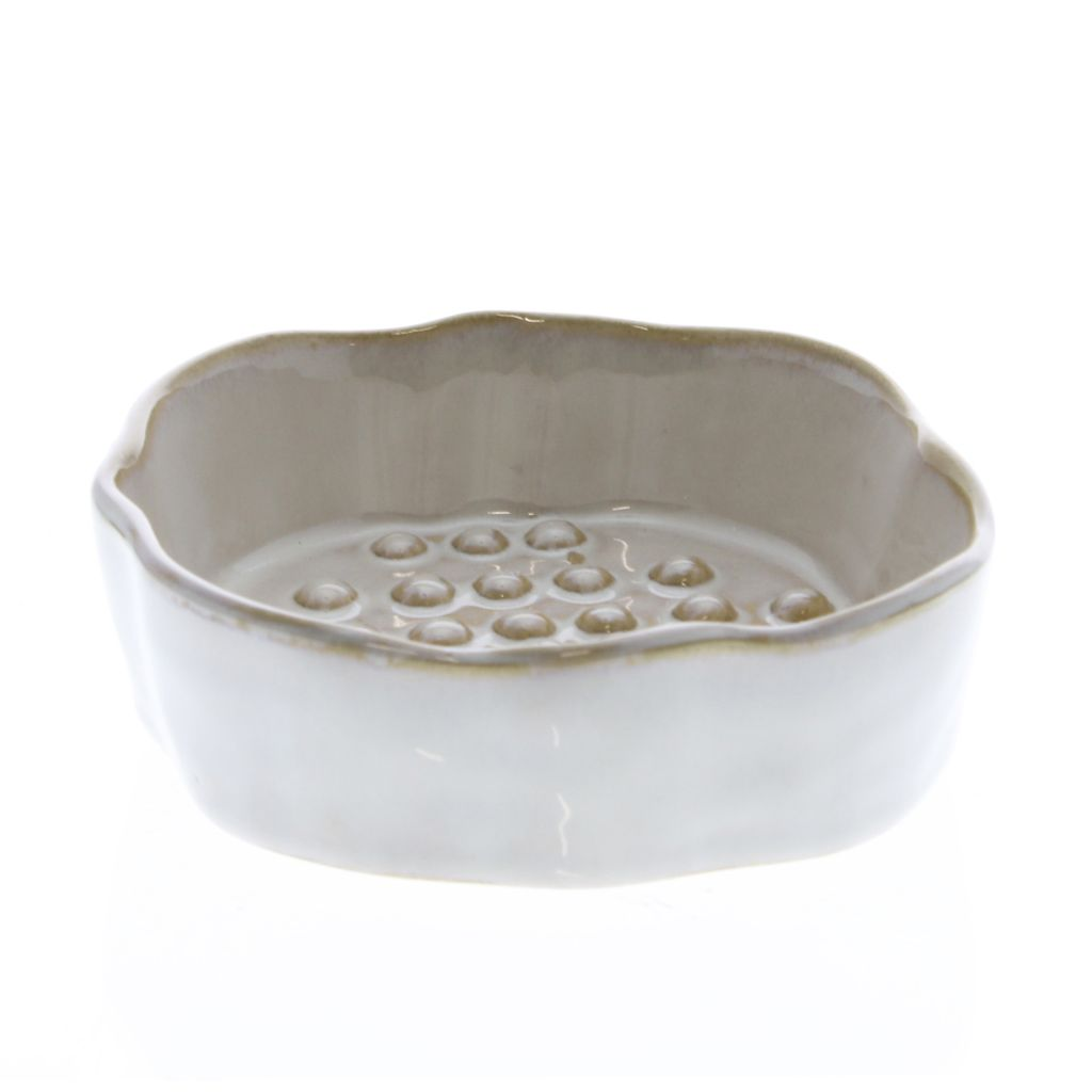 Homart Bower Ceramic Soap Dish Rnd Fancy White Areohome