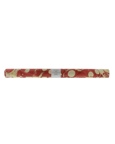 HomArt Red Marbleized Paper Gift Wrap - Roll of 6 Sheets