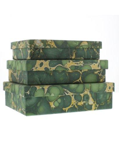 HomArt Marbleized Paper Nesting Boxes - Set of 3 - Green