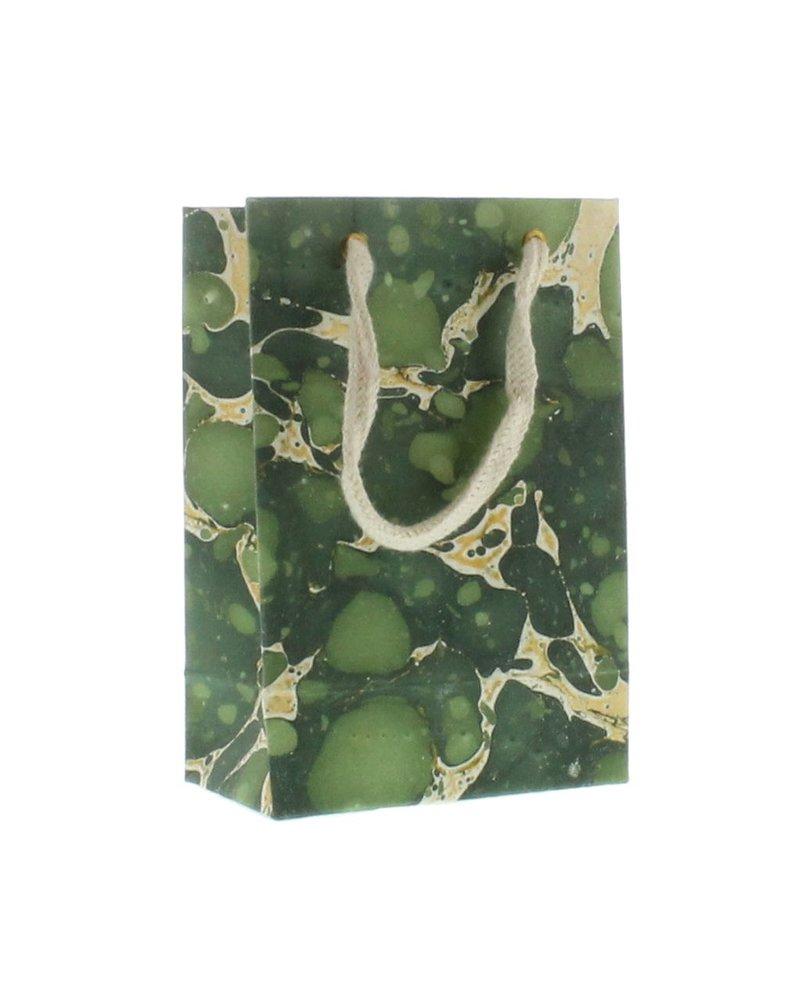 HomArt Marbleized Paper Gift Bag - Sm - Green