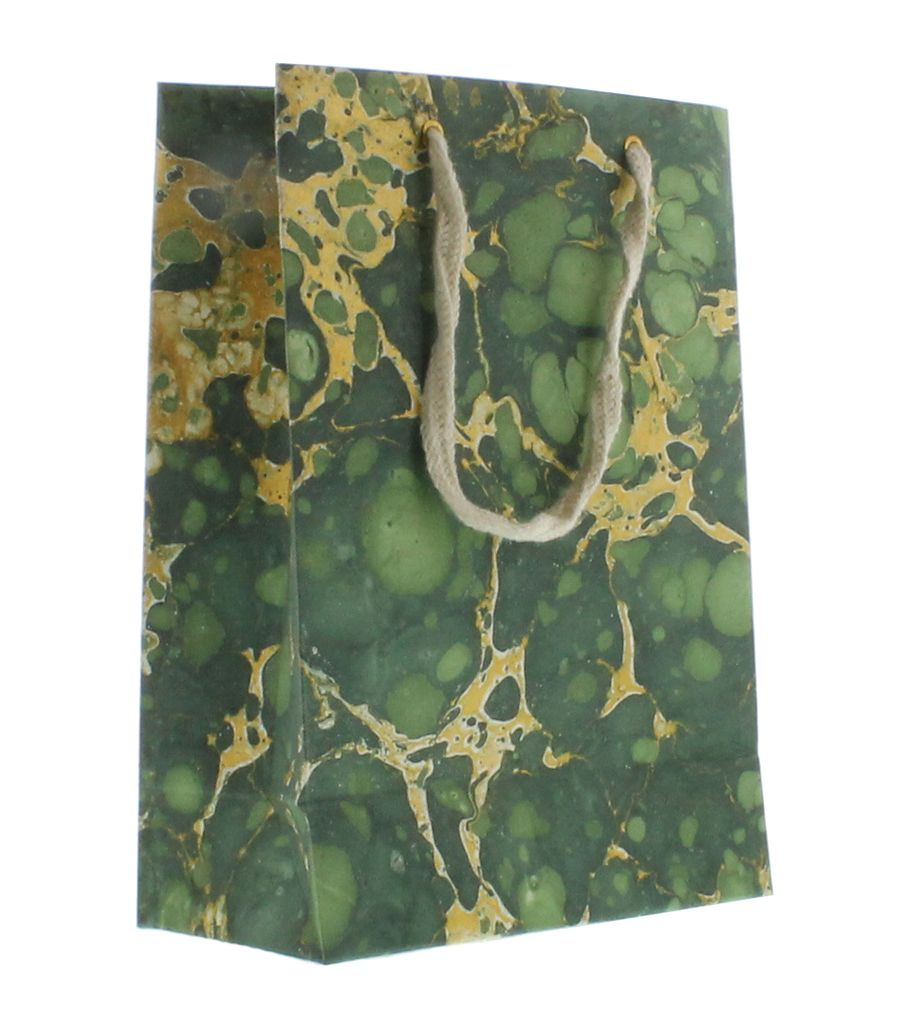 HomArt Marbleized Paper Gift Bag - Med - Green