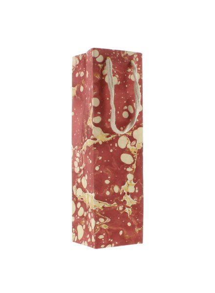 HomArt Marbleized Paper Wine Bag - Red