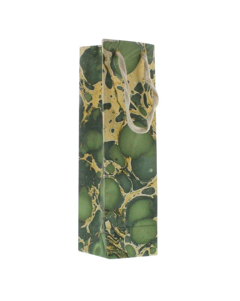 HomArt Marbleized Paper Wine Bag - Green