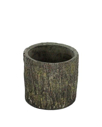 HomArt Cypress Cement Container Round - Sm - Dark Brown