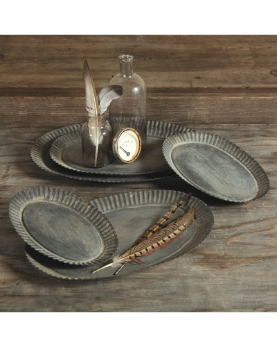 HomArt Ross Flared Oval Metal Tray - Lrg - Galvanized